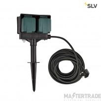 SLV 4 socket garden outlet, black, UK version, 10m cable, IP44