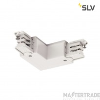 SLV 1001386 L-connector for S-TRACK 3-circuit track, earth electrode outside, traffic white