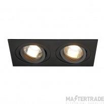 SLV 113492 NEW TRIA II GU10 downlight, rectangular, matt black, max. 2x50W, incl. clip springs