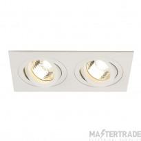 SLV 113512 NEW TRIA II GU10 downlight, rectangular, matt white, max. 2x50W, incl. clip springs