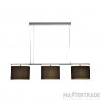 SLV 155870 TRIADEM pendant, 3 textile shades, black, 3x E27, 3x 60W max.