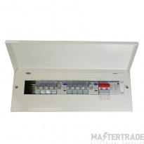 Hager  10 Way High Integrity Twin RCCB SPD Consumer Unit 100A 2x100A 30mA c/w Round Knockouts VML910CUSPDRK + 8 MCBs