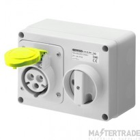Gewiss GW66001 IP44 Yellow Interlocked Switched Socket 16A 2P+E 110V