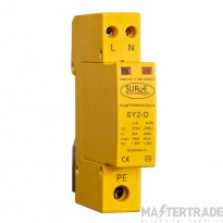 SY2-D Type 2+3 Surge Protection Device, Single Module, 2 pole with replaceable modules and window indication