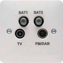 Hager WMQX Socket TV/FM Quadplexer