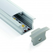 Deep Recessed Mounting Profile with diffuser & end cap