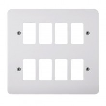 Click Mode White 8 Gang Grid Pro Front Plate CMA20508