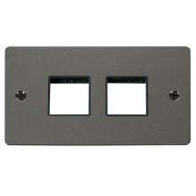 Click Define Black Nickel Double Plate 4 Gang Aperture FPBN404BK