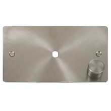 Click Define Brushed Steel Single Dimmer Plate 1000W Max FPBS185