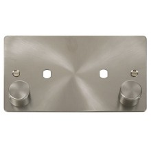Click Define Brushed Steel Twin Dimmer Plate 1630W Max FPBS186
