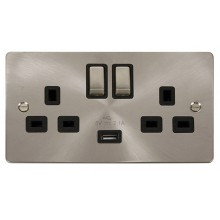 Click Define 13A 2.1A Socket Ingot 2G Switched c/w USB Outlet Brushed Stainless FPBS570BK