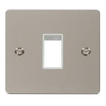 Click Define Pearl Nickel Single Plate 1 Gang Aperture FPPN401WH