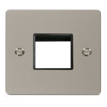 Click Define Pearl Nickel Single Plate 2 Gang Aperture FPPN402BK