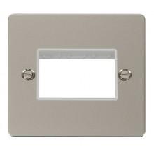 Click Define Pearl Nickel Single Plate 3 Gang Aperture FPPN403WH