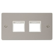 Click Define Pearl Nickel Double Plate 4 Gang Aperture FPPN404WH