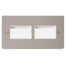 Click Define Pearl Nickel Double Plate 6 Gang Aperture FPPN406WH