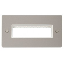 Click Define Pearl Nickel Double Plate 6 Gang Aperture FPPN426WH