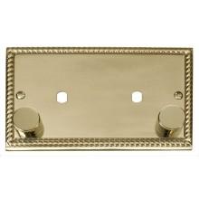 Click Deco Georgian Brass Twin Dimmer Plate 1630W Max GCBR186