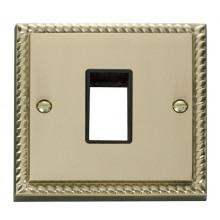 Click Deco Georgian Brass Single Plate 1 Gang Aperture GCBR401BK