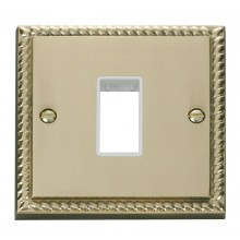 Click Deco Georgian Brass Single Plate 1 Gang Aperture GCBR401WH