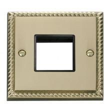 Click Deco Georgian Brass Single Plate 2 Gang Aperture GCBR402BK