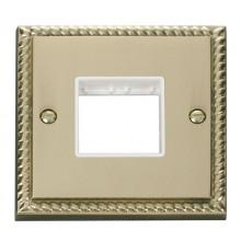 Click Deco Georgian Brass Single Plate 2 Gang Aperture GCBR402WH