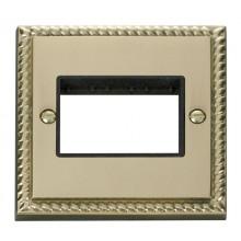 Click Deco Georgian Brass Single Plate 3 Gang Aperture GCBR403BK