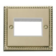 Click Deco Georgian Brass Single Plate 3 Gang Aperture GCBR403WH
