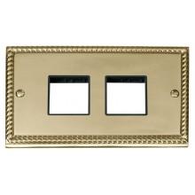 Click Deco Georgian Brass Double Plate 3 Gang Aperture GCBR404BK