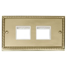 Click Deco Georgian Brass Double Plate 3 Gang Aperture GCBR404WH