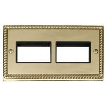 Click Deco Georgian Brass Double Plate 6 Gang Aperture GCBR406BK