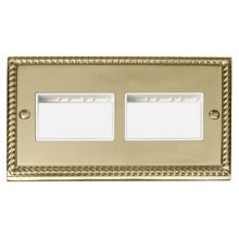 Click Deco Georgian Brass Double Plate 6 Gang Aperture GCBR406WH