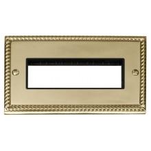 Click Deco Georgian Brass Double Plate 6 Gang Aperture GCBR426BK