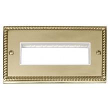 Click Deco Georgian Brass Double Plate 6 Gang Aperture GCBR426WH