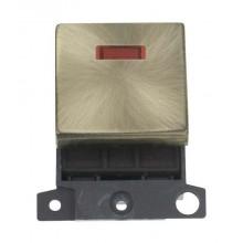 Click MiniGrid MD023AB Antique Brass 20A DP Switch Module + Neon