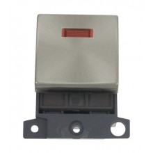 Click MiniGrid MD023BS Brushed Steel 20A DP Switch Module + Neon