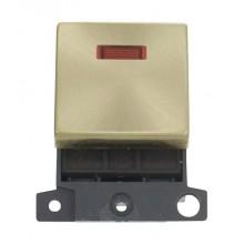 Click MiniGrid MD023SB Satin Brass 20A DP Switch Module + Neon