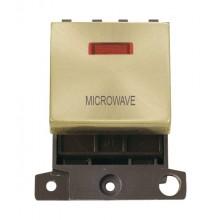 Click Minigrid 20A Switch Ingot DP 2 Module c/w Neon Satin Brass MD023SBMW