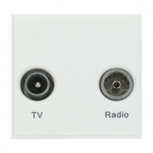 Click New Media Socket TV FM Diplexed Polar White MM420WH
