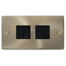 Click Deco Antique Brass 4 Gang 2 Way Switch VPAB019BK