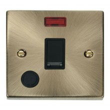 Click Deco 20A Connection Unit Switched Flex Outlet & Neon Antique Brass VPAB023BK