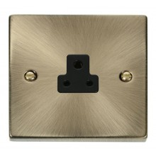 Click Deco 2A Socket 1 Gang Unswitched Round Pin Antique Brass VPAB039BK