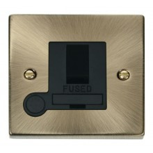 Click Deco Antique Brass Switched Fused Spur + F/O VPAB051BK