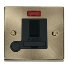 Click Deco Antique Brass Switched Fuse Spur Neon + F/O VPAB052BK