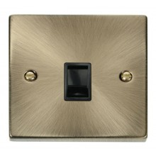Click Deco Socket RJ11 Ireland US Plate Antique Brass VPAB115BK