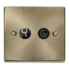 Click Deco Antique Brass Isolated Sat & Coaxial Socket VPAB157BK