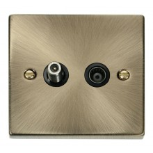 Click Deco Socket CoAxial Single Isolated Antique Brass VPAB170BK