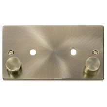 Click Deco Antique Brass Twin Dimmer Plate 1630W Max VPAB186