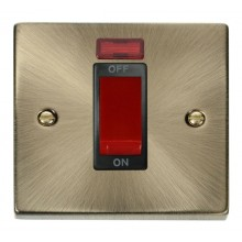 Click Deco Antique Brass 1 Gang 45A DP Switch + Neon VPAB201BK