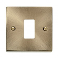 Click Deco Antique Brass 1 Gang Grid Pro Front Plate VPAB20401